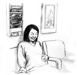 Drawing of a young, pregnant woman sitting in a chair in the waiting room of a doctor's office. She is looking at her belly. She is resting one hand on her belly.